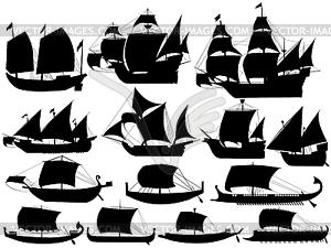 Alte Segelboote - Vektor-Clipart / Vektor-Bild