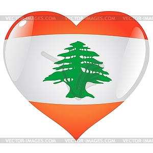 heart with flag of lebanon vector clip art