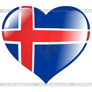 Herz mit Flagge von Island - Vector-Clipart / Vektor-Bild