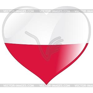 Herz mit Flagge Polens - Vektor-Clipart / Vektorgrafik
