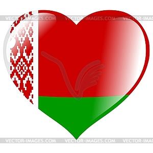 Herz mit Flagge von Belarus - Stock Vektorgrafik