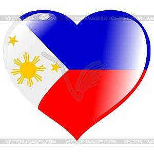 Herz mit Flagge von Philippinen - Vector-Bild