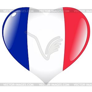 Herz mit Flagge von Frankreich - Vektorgrafik-Design