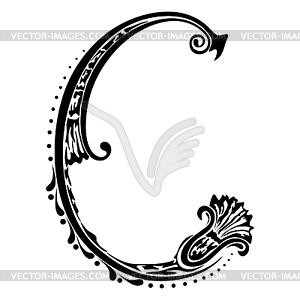 Buchstabe C - schwarzweiße Vektorgrafik