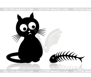 Katze mit Fisch - Vector-Clipart / Vektorgrafik