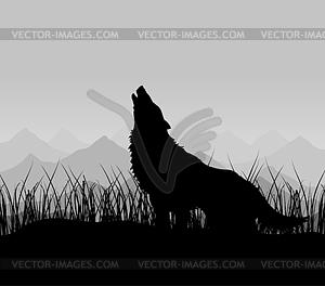 Wolf im Gebirge - Clipart
