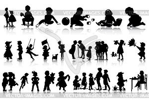 Silhouetten von Kindern - Vector Clip Art