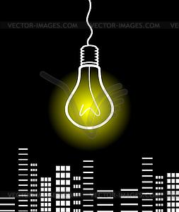 Glühbirne über Stadt - vektorisiertes Clipart