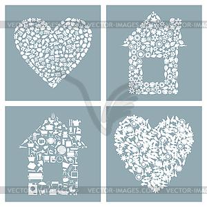 Haus und Herz - Vektor-Clipart EPS