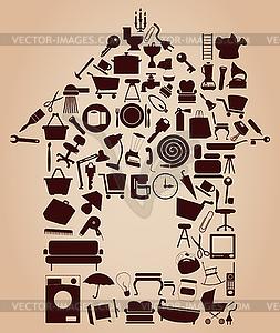 Haus von Objekten - Vektor-Klipart
