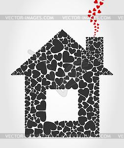Haus von Herzen - Vector-Clipart / Vektor-Bild