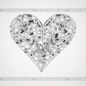 Lebensmittel Herz - schwarzweiße Vektorgrafik