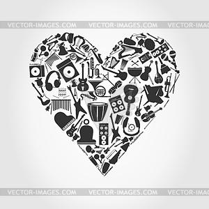 Musikalisches Herz - Stock Vektor-Bild