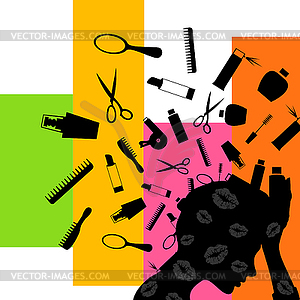 Kosmetik von dem Kopf - farbige Vektorgrafik