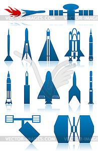 Icons von Raketen - vektorisiertes Bild
