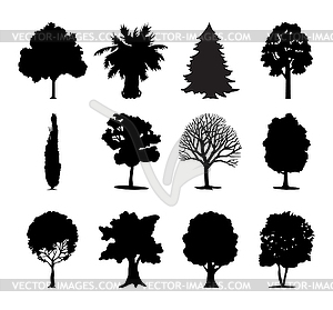 Icons von Bäumen - vektorisiertes Clipart
