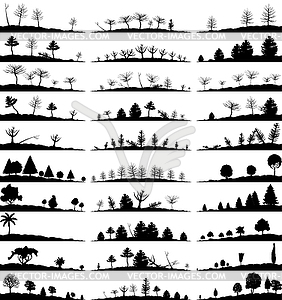 Set von Landschaft-Silhouetten - Vektor-Clipart / Vektorgrafik