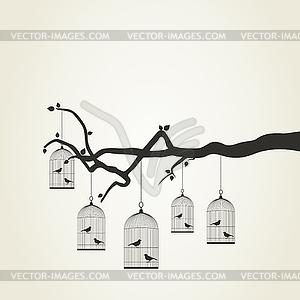 Vögel im Käfig - Vector-Clipart / Vektor-Bild