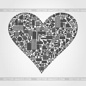 Herz aus Häusern - Vector-Bild