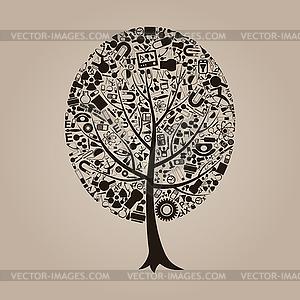 Baum der Wissenschaft - vektorisiertes Clipart
