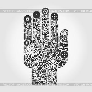 Hand von Wissenschafts-Icons - Klipart