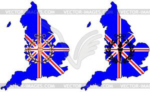 Olympische Symbole vor Großbritannien Karte - farbige Vektorgrafik