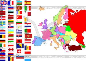 Landkarte von Europa mit Länderflaggen - Vector-Bild