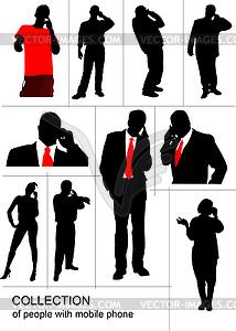 Set von Menschen-Silhouetten sprechend am Handy - Vektor-Clipart / Vektor-Bild