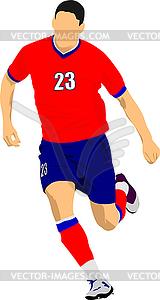 Fußballspieler in rot-blauen Uniformen. Farbig - vektorisierte Grafik