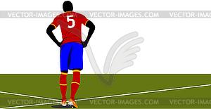 Football-Spieler wartet auf Feld - vektorisiertes Clipart