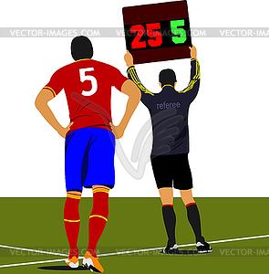 Football-Spieler warteе auf Feld und Schiedsrichte - vektorisiertes Bild
