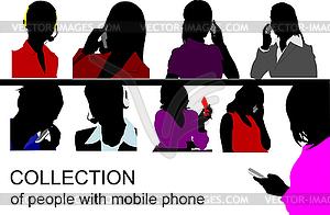 Menschen sprechen am Handy - Vektor-Clipart