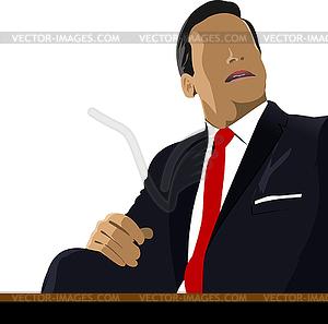 Geschäftsmann sitzt im Büro - Vektorabbildung