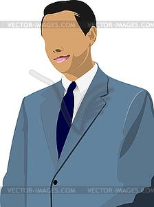Geschäftsmann steht und spricht - vektorisiertes Clipart