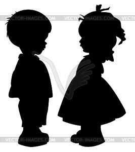 Silhouetten von Kindern - Vektor-Clipart / Vektor-Bild