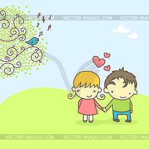 Cute couple in love - vector image