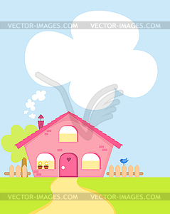 Niedliches Cartoon-Haus - Vector-Clipart / Vektorgrafik