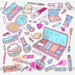 Produkte für Make-up und Schönheit - Vektor-Clipart EPS