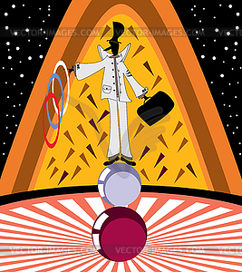 Clown spielt mit Ringen - Vector-Clipart EPS