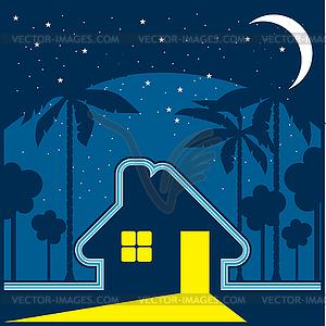 Haus in der Nacht in einer Umgebung von Sternen und Mond - Vector-Clipart / Vektor-Bild