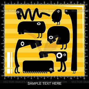 Satz von acht schwarzen Monstern auf gelbem Hintergrund - Vektor-Illustration