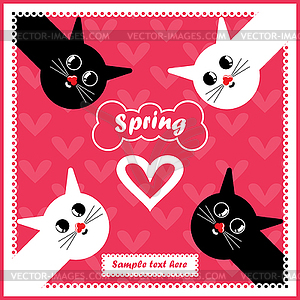 Karte mit bunten Katzen in der Liebe - Vektor-Clipart / Vektor-Bild