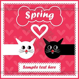 Karte mit bunten Katzen in der Liebe - Stock Vektor-Clipart