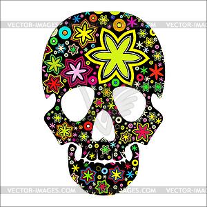 Schädel in Blumen - Vektorgrafik-Design