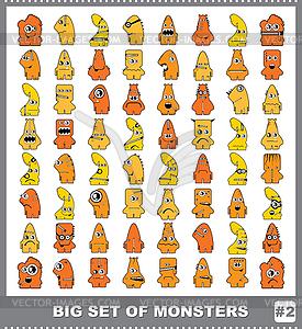 Großes Set von bunten Monstern - vektorisierte Abbildung