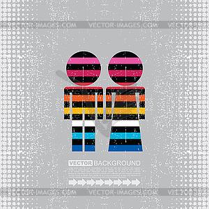 Buntes Paar von Männern und Frauen - Vektor-Design
