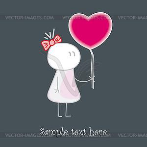 Baby gibt das rote Herz der Liebe  - Vektor Clip Art