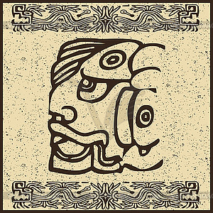 Aztekisches Piktogramm als Gesicht - Vector-Bild