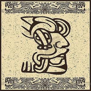 Aztekisches Piktogramm als Gesicht - Vector-Clipart EPS