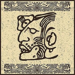 Aztec indischen Gesicht - Vector-Clipart / Vektorgrafik